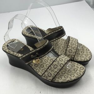 Guess Signature Slide Wedge Sandals 8.5 8.5M